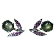Vintage Black Star Sapphire and Ruby Flower Earrings Non Pierced