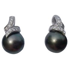 Vintage Black Tahitian Cultured Pearl and Diamond Post Earrings 14k White Gold