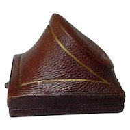 Antique Mid Victorian Era Brown Leather Ring Presentation Box
