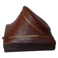Antique Mid Victorian Era Brown Leather Ring Presentation Box