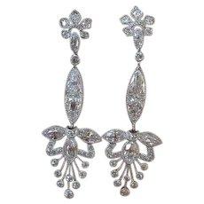 Stunning Antique Edwardian Diamond Platinum Dangle Earrings