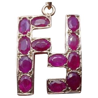 Vintage Fendi Designer FF Logo Natural Ruby 14K Gold Pendant