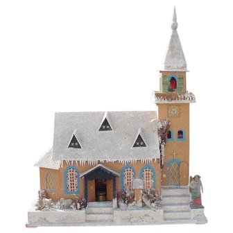 """Large Very Old German Christmas Putz Church House 16"""" by 19"""""""
