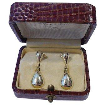 Vintage Italian 14k Gold Teardrop Dangle Earrings