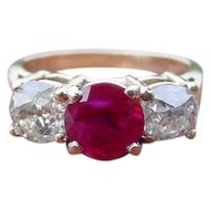 Burmese Ruby & Antique Mine Cut Diamond Ring