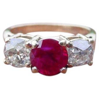 Antique Burmese Ruby & Mine Cut Diamonds in Contemporary Setting