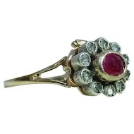 """Old """"Poison"""" Ring with Ruby and Diamonds"""