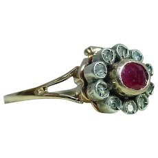"Old ""Poison"" Ring with Ruby and Diamonds"