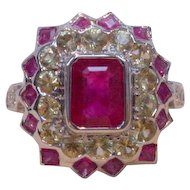 Vintage Emerald Cut Ruby and Yellow Sapphire Ring in 18k Gold
