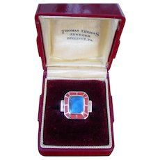 Vintage Art Deco Lapis Enamel 18k Gold Ring