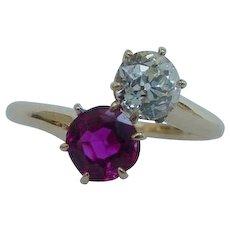 Antique Natural Unheated Ruby & Mine Cut Diamond Toi et Moi Ring