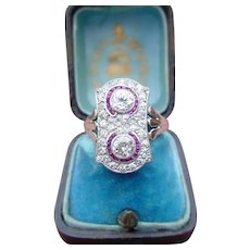 Antique Edwardian Diamond Ruby Ring Platinum Top 18k Gold