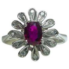 Vintage 1940's Palladium Ruby Flower Ring