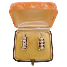 Antique Natural Pearl Earrings in 14k Yellow Gold