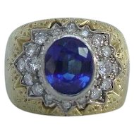 Vintage Rota Blue Sapphire Diamond Italian Ring in 18k Gold