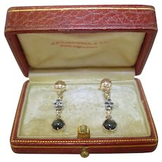 Antique Black Star Sapphire and Diamond Yellow Gold Screw Back Earrings