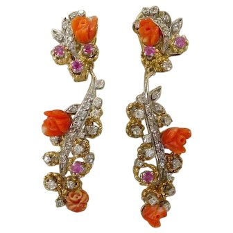 Gorgeous Old Diamond, Coral and Ruby Long Dangle Earrings
