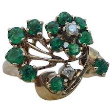 Vintage Retro Period Emerald Diamond Flower Motif Ring