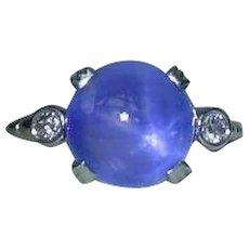 Unique Rare 5.86 Carat Double Star Sapphire Ring by Edward Petri