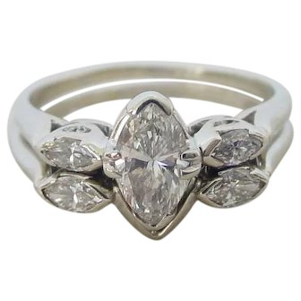 Lovely Diamond Ring and Wedding Band in 18k White Gold