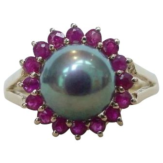 Cultured Tahitian Peacock Pearl and Ruby Ring