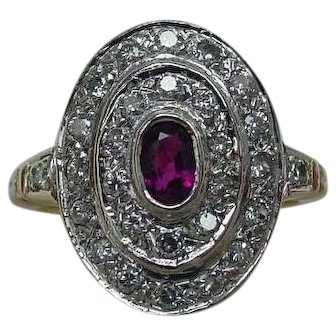 Pretty Old Ruby Diamond Halo Ring in 14k Yellow White Gold
