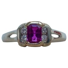 Splendid Emerald Cut Natural Ruby and Diamond Ring