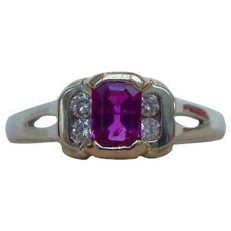 Splendid Emerald Cut Natural Ruby and Diamond Ring