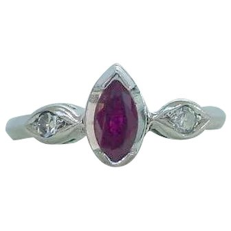 Dainty Marquise Ruby and Diamond Ring