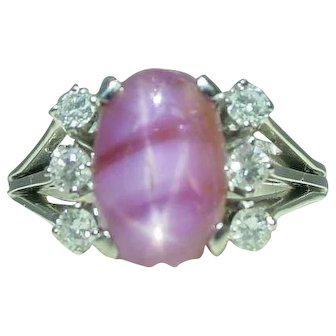Beautiful 18k Gold Natural Pink Star Sapphire Ruby Ring
