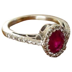 Favero 1.14 Ruby and .23 Diamond Ring in 18k White Gold