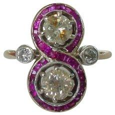 Art Deco Unique Diamond and Ruby Ring