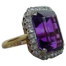 Garrard London Vintage Amethyst and Diamond Ring 1964