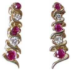 Retro Period Ruby & Diamond Dangle Earrings