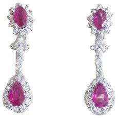 Beautiful Ruby and Diamond 18k White Gold Dangle Earrings