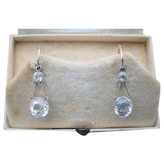 Antique Natural White Sapphire Platinum & 18k Gold Earrings