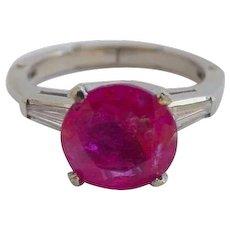 Intense 2.3 Carat Pink Sapphire & Diamond Platinum Ring with 14k Gold Fingermate Band