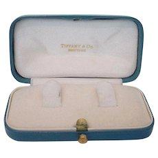 Old Tiffany & Co.  Blue Leather Jewelry Presentation Box