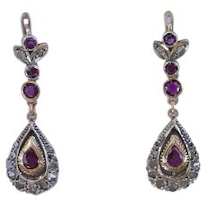 Antique 12K Gold Ruby and Diamond Dangle Earrings