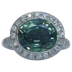 Rare 5.5 Carat Montana Sapphire in Hand Made 950 Palladium Setting