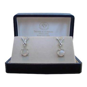 Retro Period Moonstone and Diamond Earrings 14k White Gold