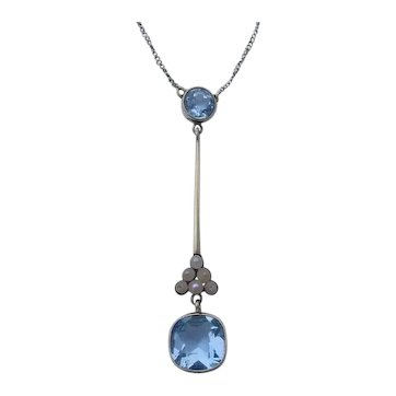 Antique Blue Aquamarine and Natural Pearl Lavalier 15CT Gold Necklace