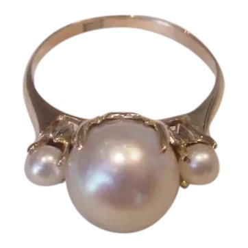 Antique Cultured Pearl Ring in K18 Yellow Gold