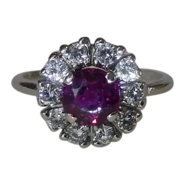 Sweet Old Untreated Ruby and Diamond Ring