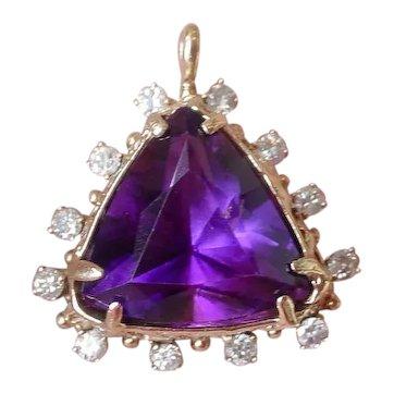 Finest Purple Amethyst and Diamond Pendant