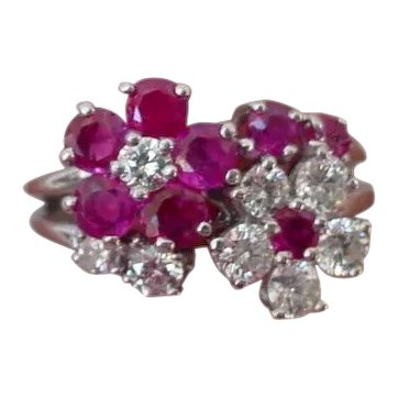 Old Platinum Ruby and Diamond Flower Ring Oscar Heyman Design
