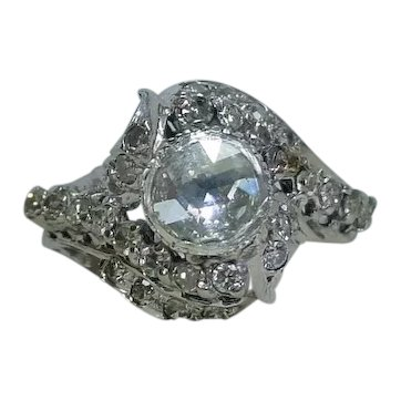 Old Rose Cut Diamond Ring in 18k White Gold
