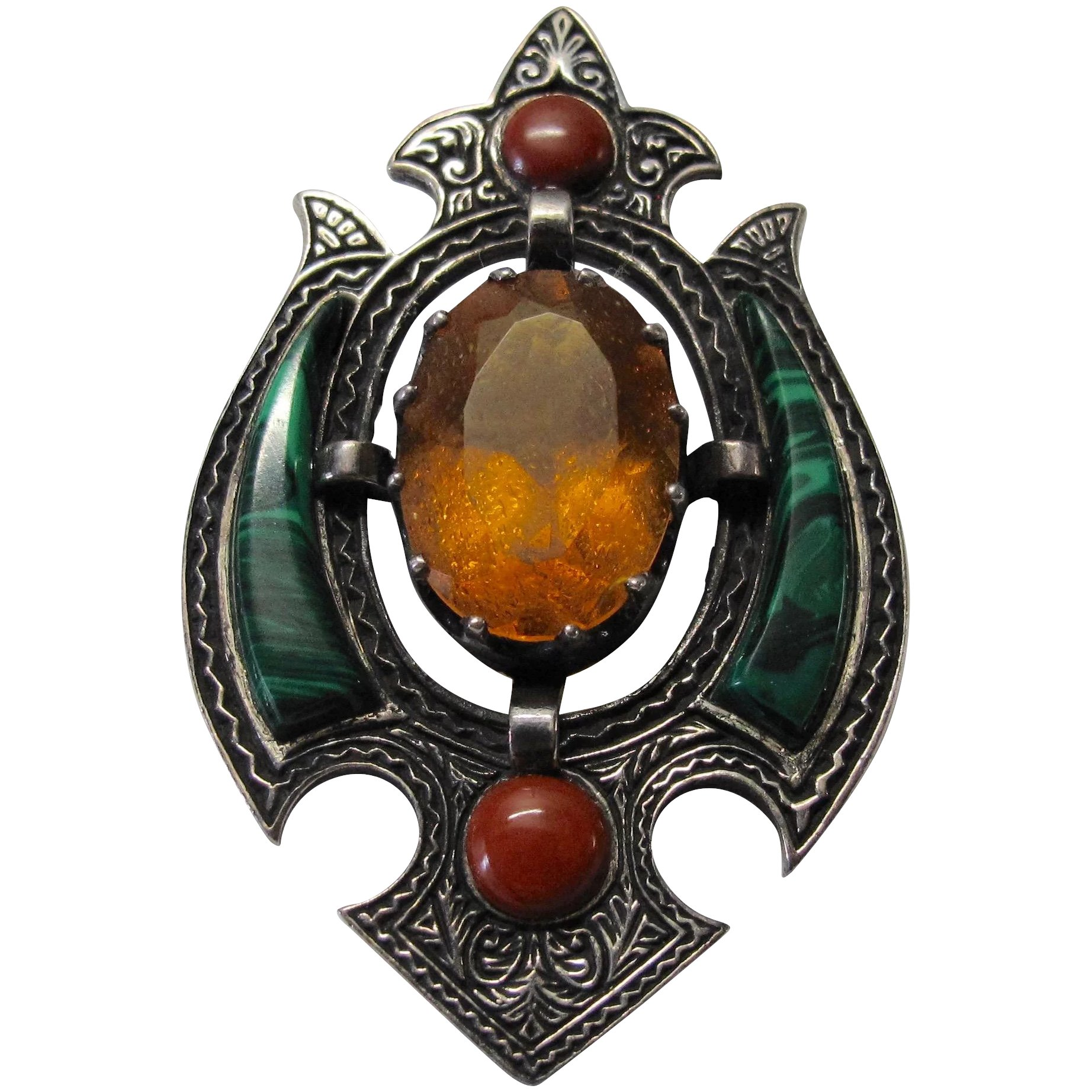 Sterling Scottish Topaz Malachite Shield Pin Victorian Revival Lee Caplan Vintage Collection