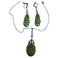 Faux Jade Celluloid Marcasite Pendant Earrings Vintage
