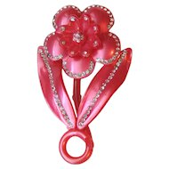 Huge Pink Celluloid Flower Rhinestones Brooch Pin 3in